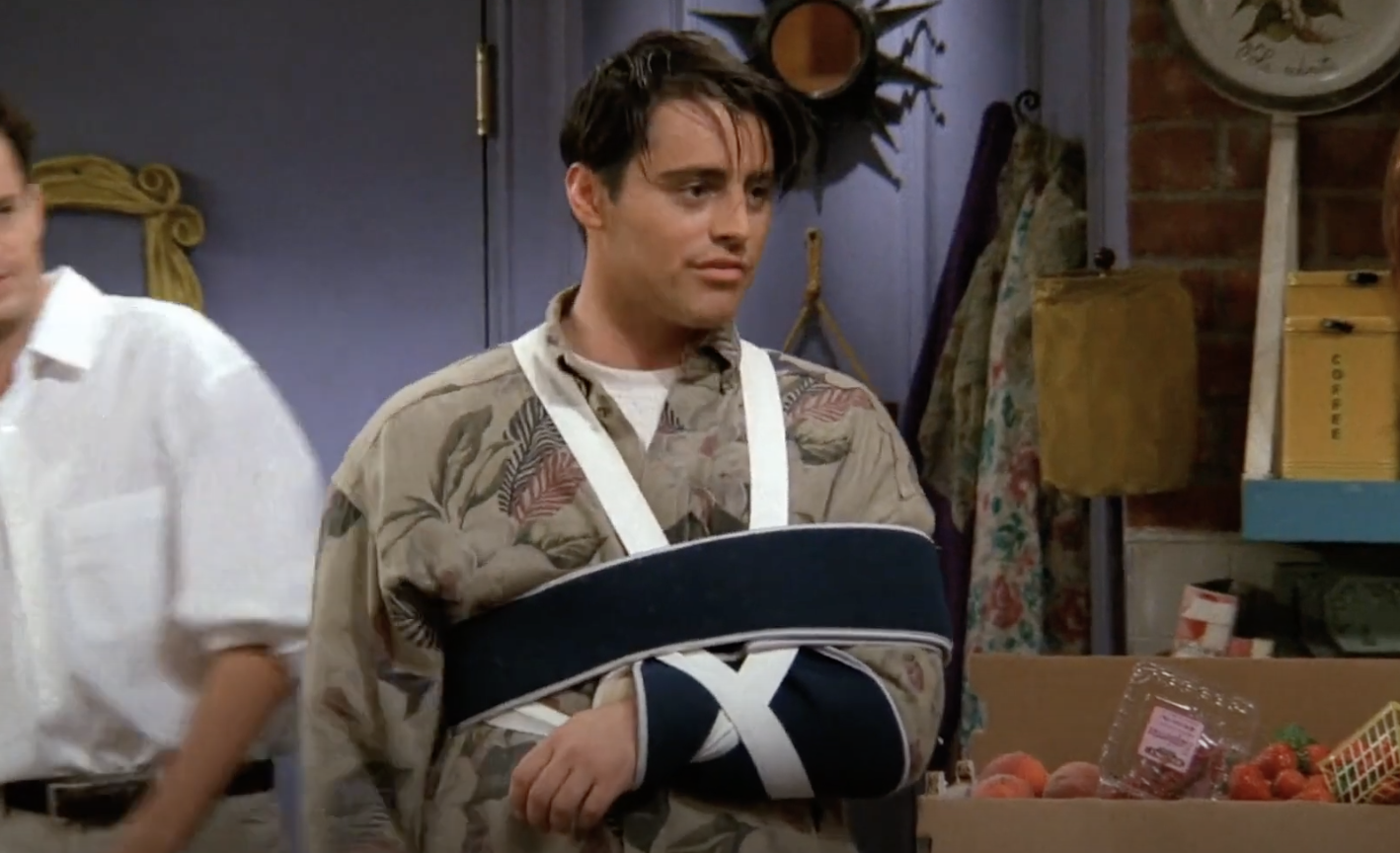 Joey's arm in a sling