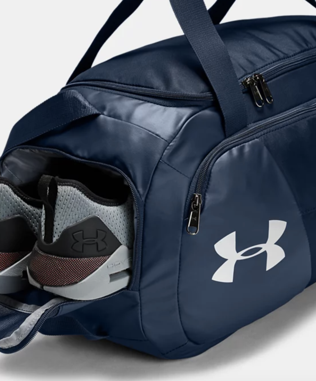 blue gym bag with sneaker side compartment and front pocket