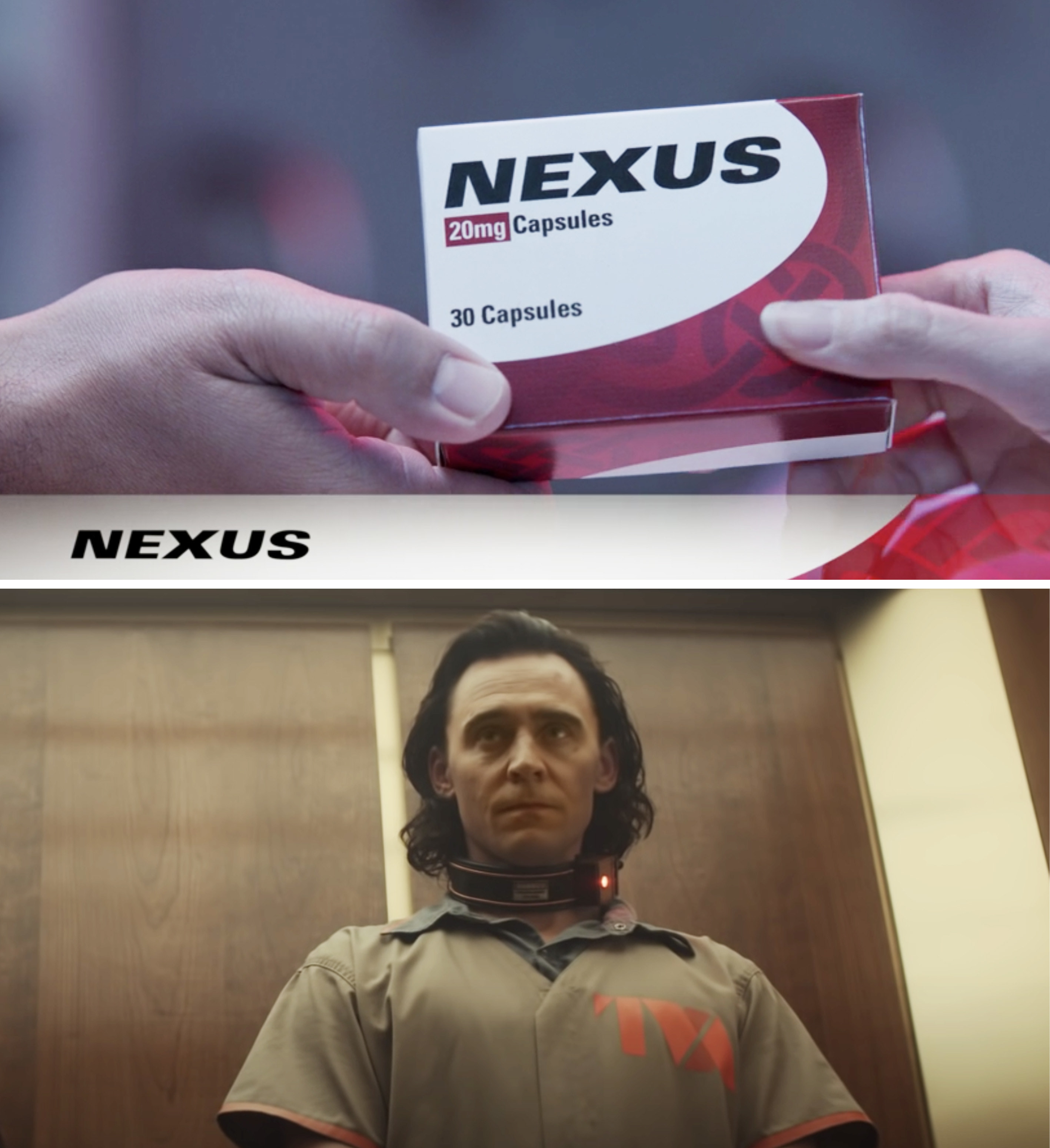 A box of Nexus capsules vs. Loki in a TVA jumpsuit