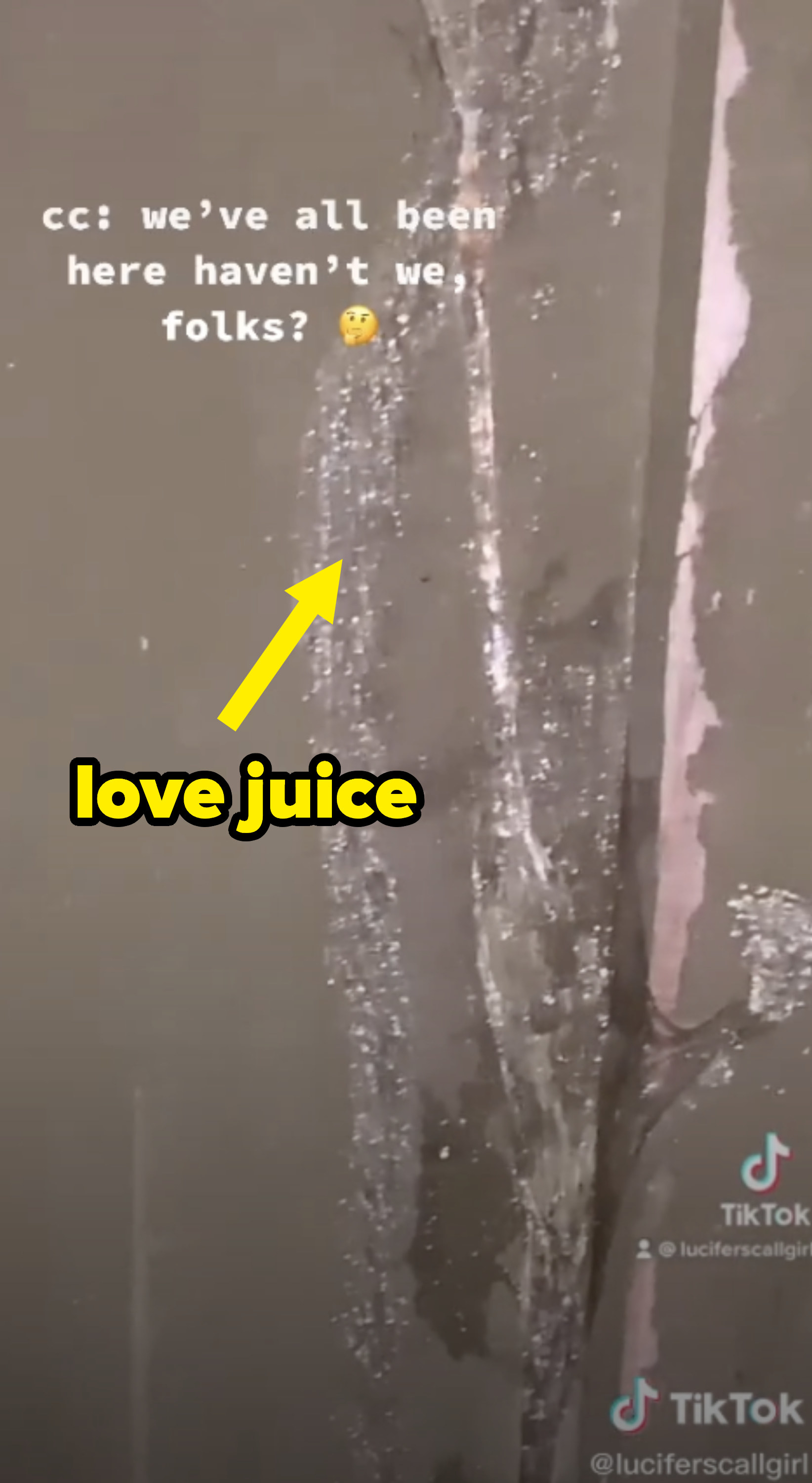 """""""love juice"""" with an arrow pointed at the liquid"""