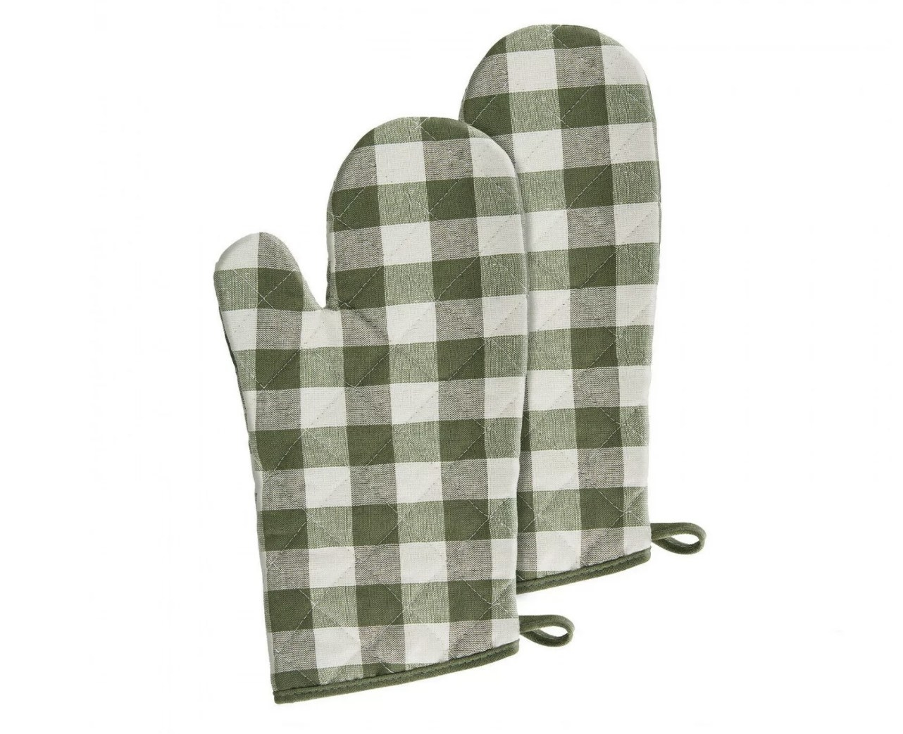 the oven mitts in green checkered pattern