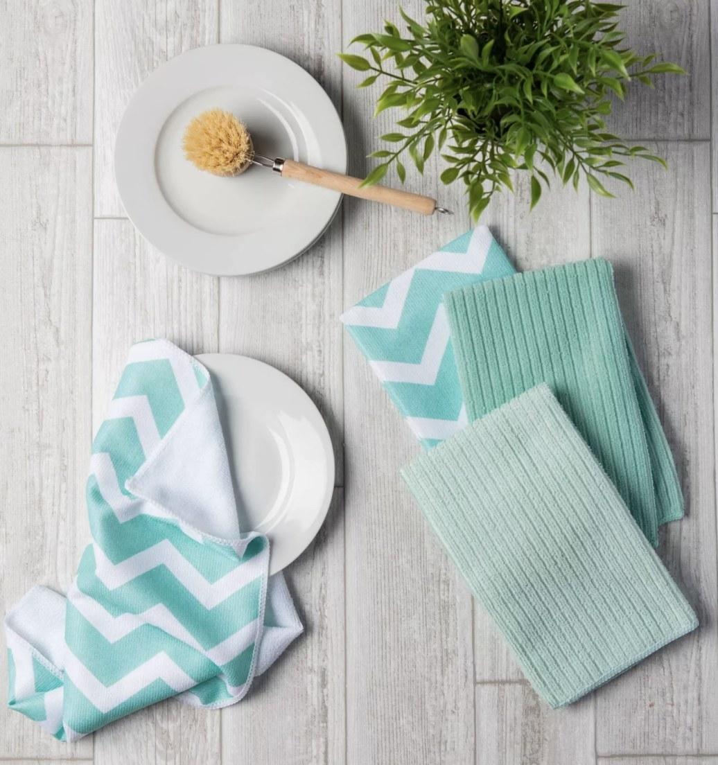 the dish towels in aqua