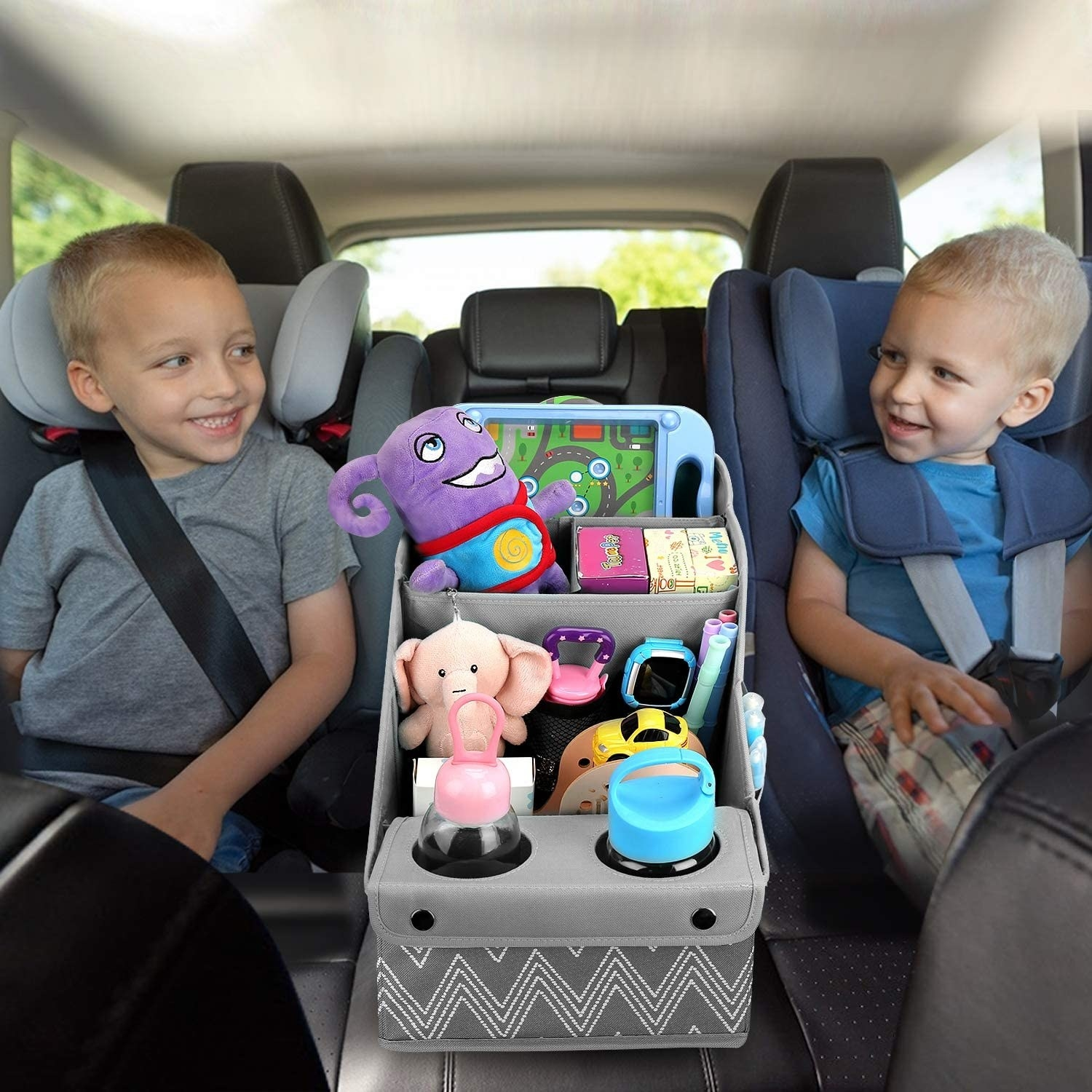 gray organizer with two cup holders, two large sections to hold toys