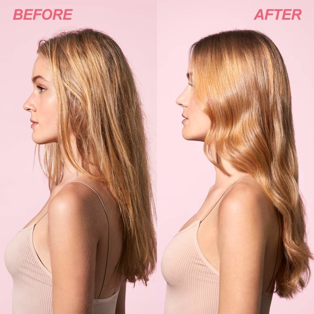 Model showing before-and-after results of using Briogeo Farewell Frizz Rosarco Milk Leave In Conditioning Spray