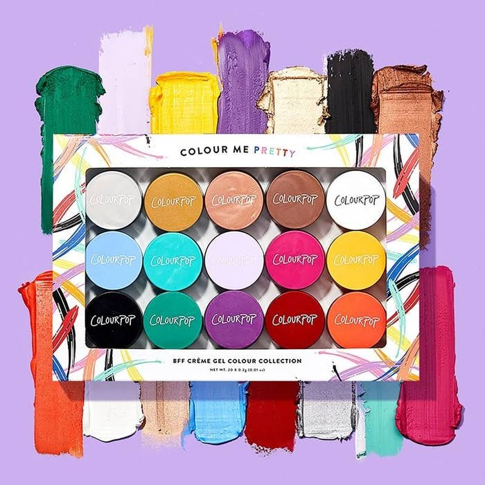 The rainbow of shades, including solids and metallics, with swatches