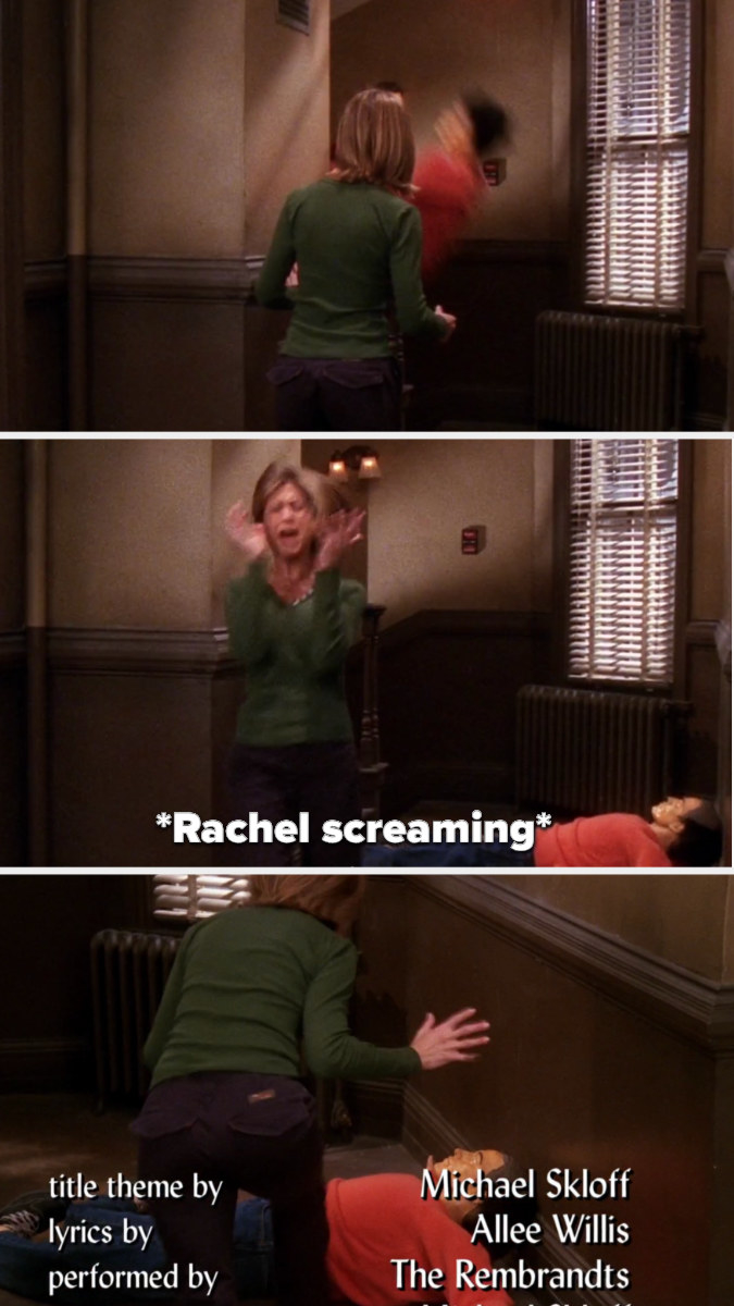 a dummy is thrown down the stairs and Rachel screams then runs to it