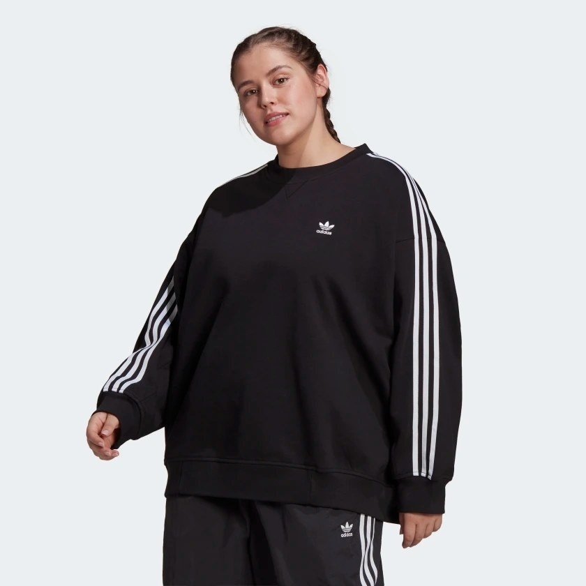 The sweatshirt worn by a model and paired with matching pants