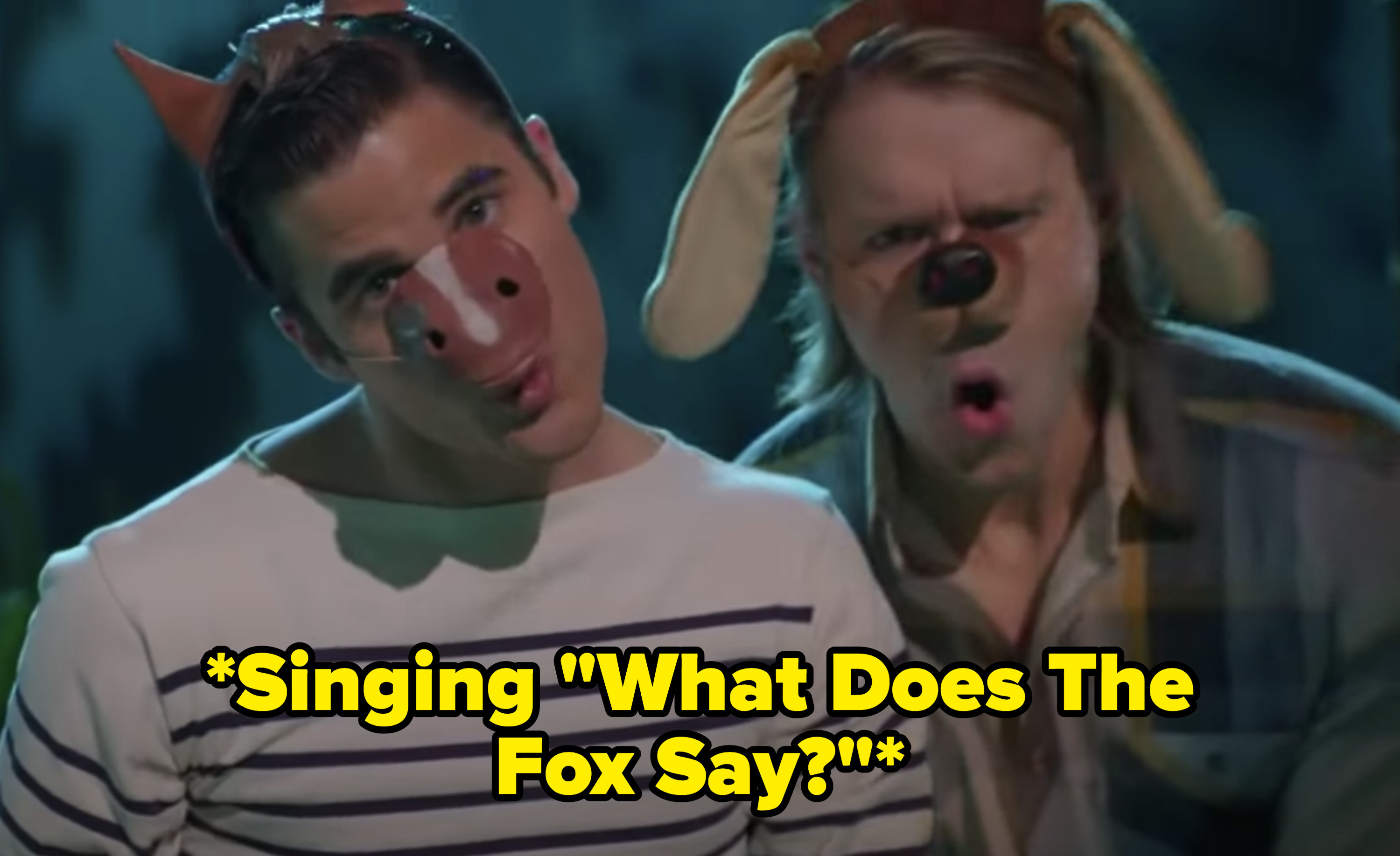 "Blaine and Sam singing ""What Does The Fox Say?"""