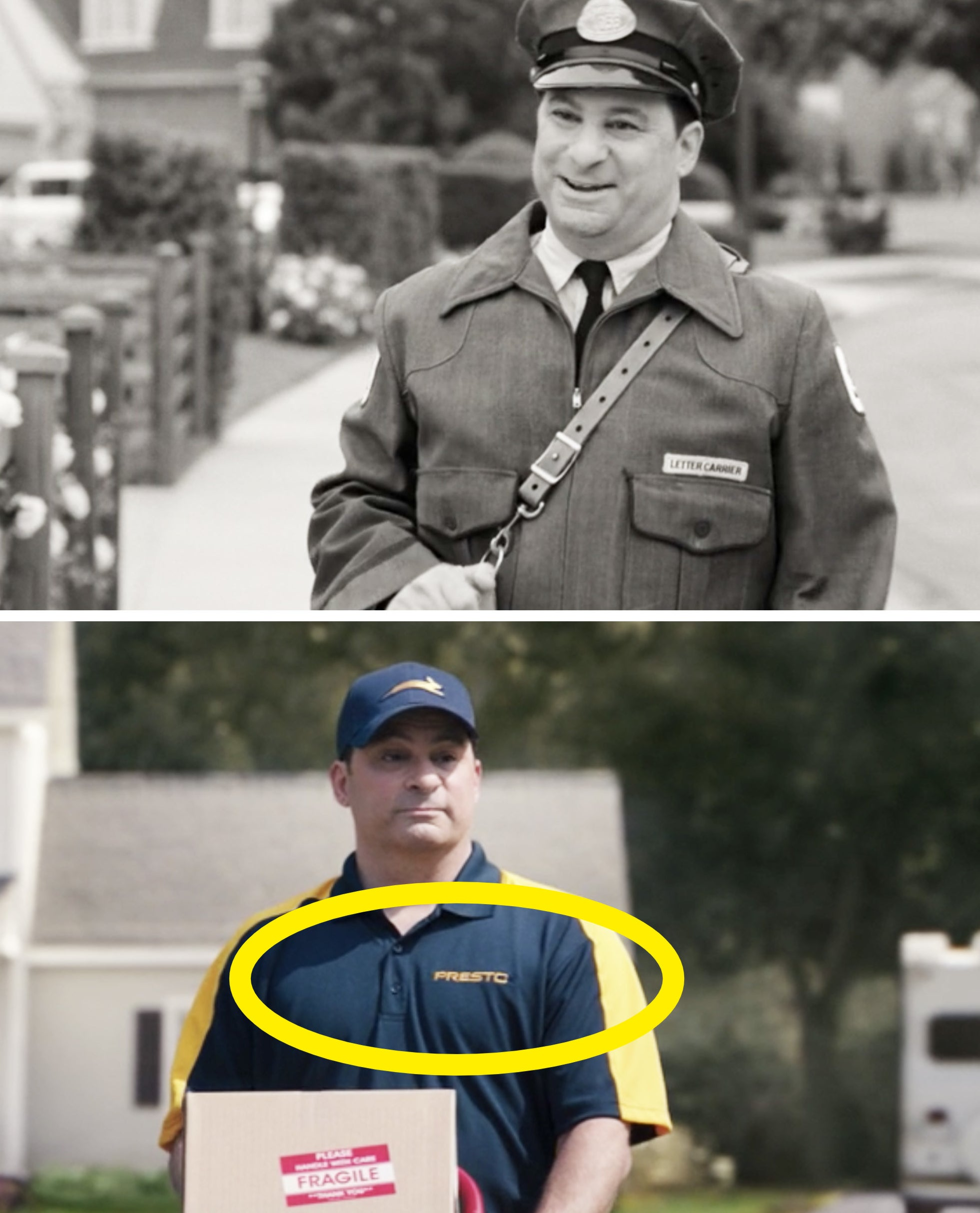 "The mailman from Episode 1 vs. the delivery guy wearing a ""Presto"" shirt in Episode 7"