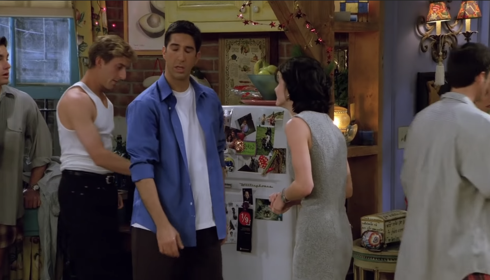 Ross and Monica by the fridge