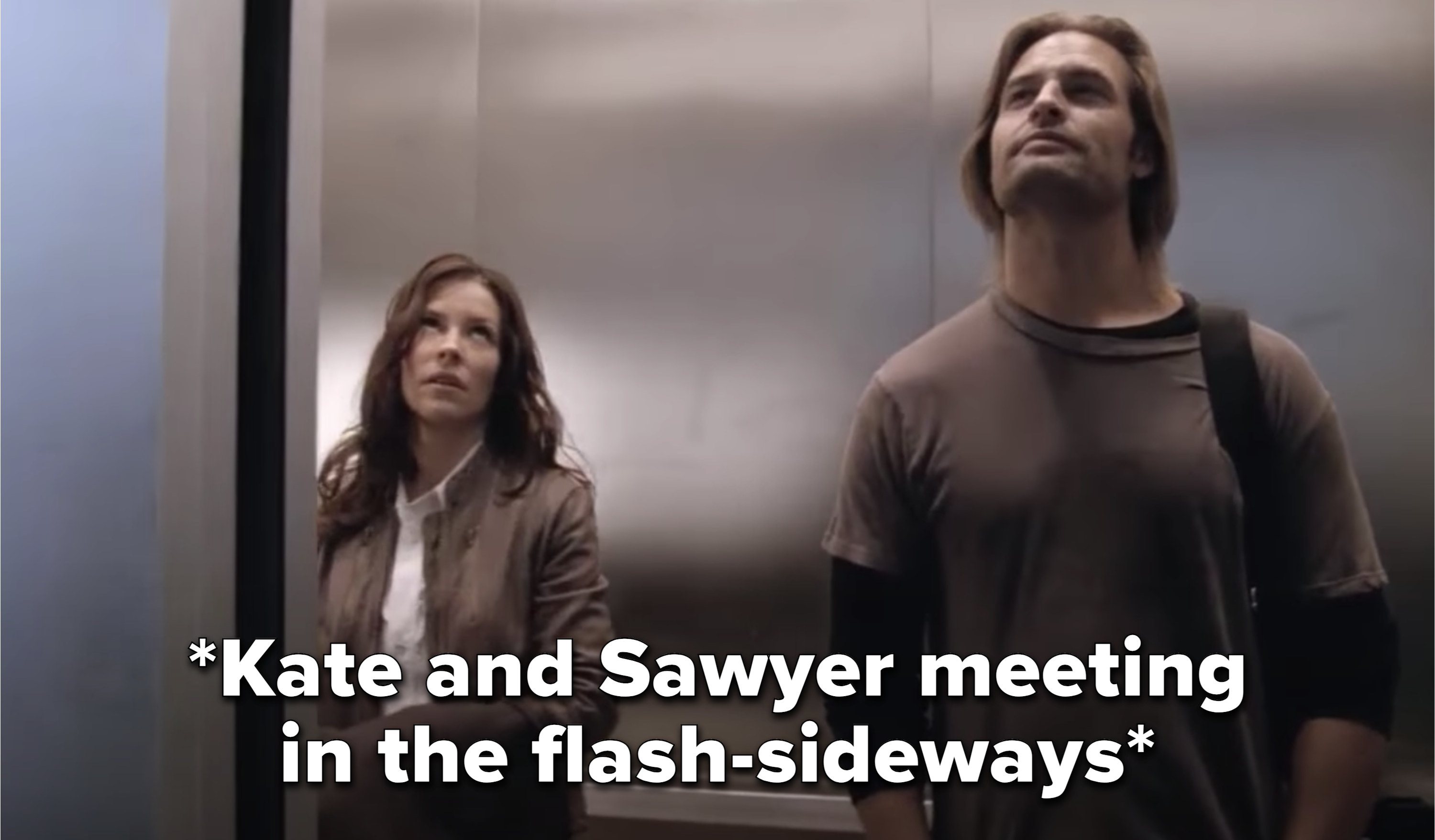 Kate and Sawyer meeting in the elevator in the flash-sideways