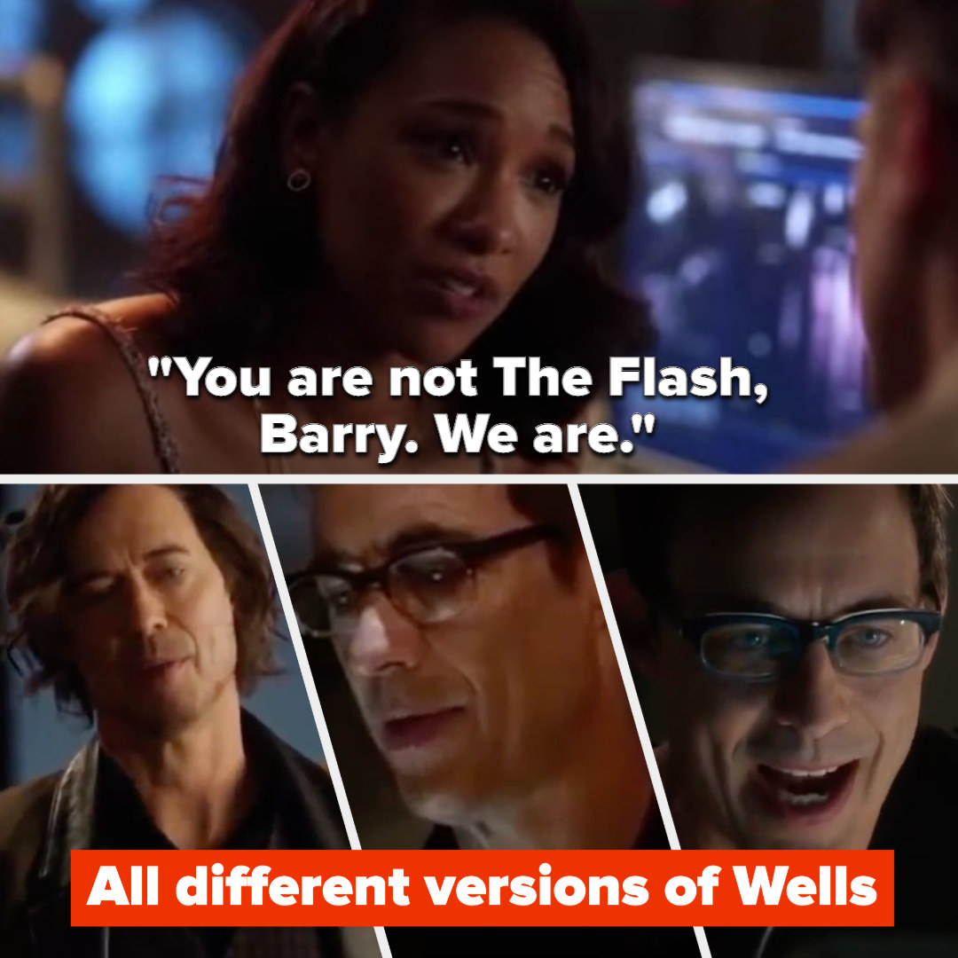 "Iris saying ""You are not The Flash, Barry. We are"" and 3 different versions of Wells"