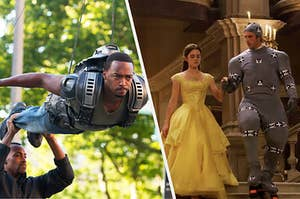 someone holding up Anthony Mackie's legs while he pretends to fly in Captain America: The Winter soldier and Dan Stevens in a strange motion capture suit next to Emma Watson in her Belle ballgown on the set of Beauty and the Beast