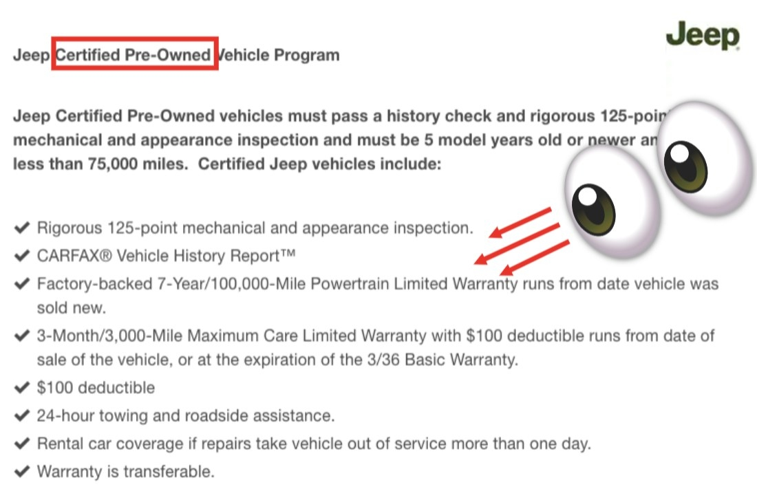 Screenshot of features included in a certified pre-owned car, including 125-point inspection, vehicle history report, and extended warranty