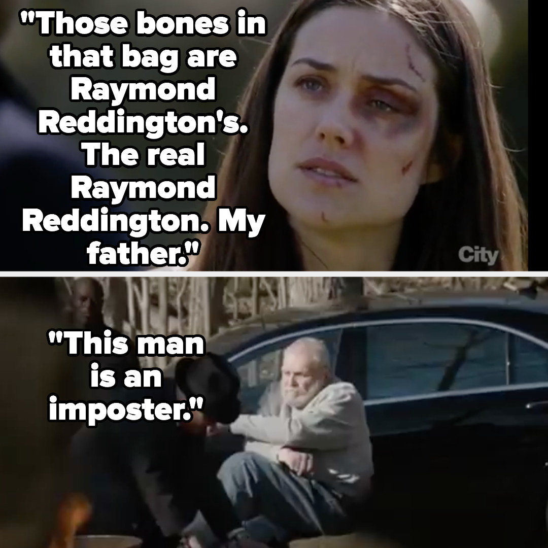 "Liz says ""Those bones in that bag are Raymond Reddington's. The real Raymond Reddington. My father....this man is an imposter"" as we see the fake Red burning the real Red's bones"