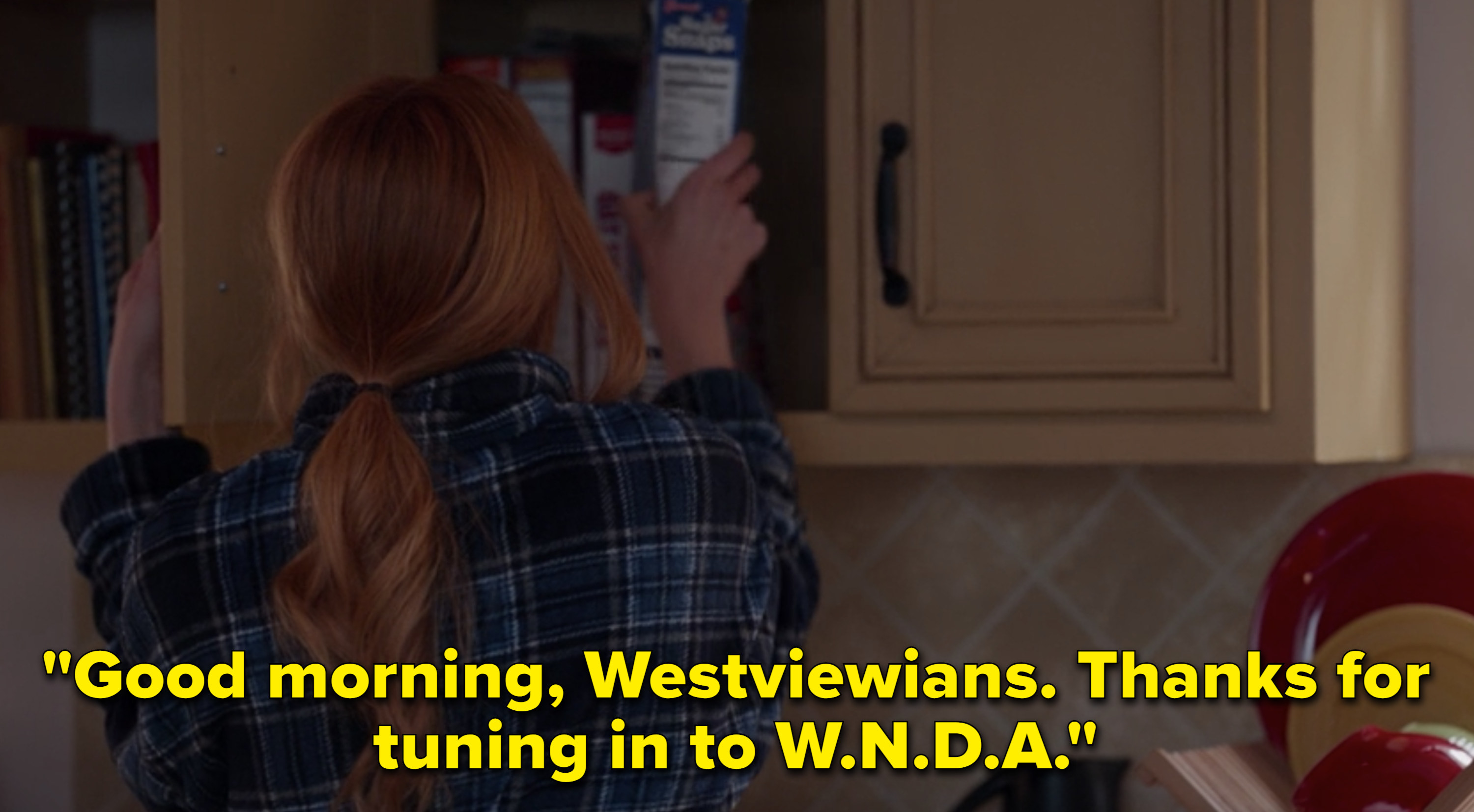 "A radio host saying, ""Good morning, Westviewians. Thanks for tuning in to W.N.D.A."""