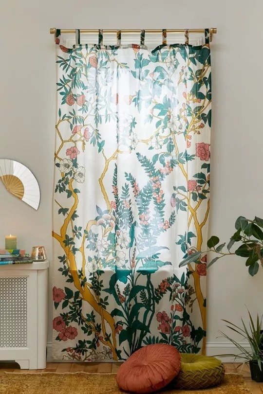 Vintage botanical print from floor to top of curtain