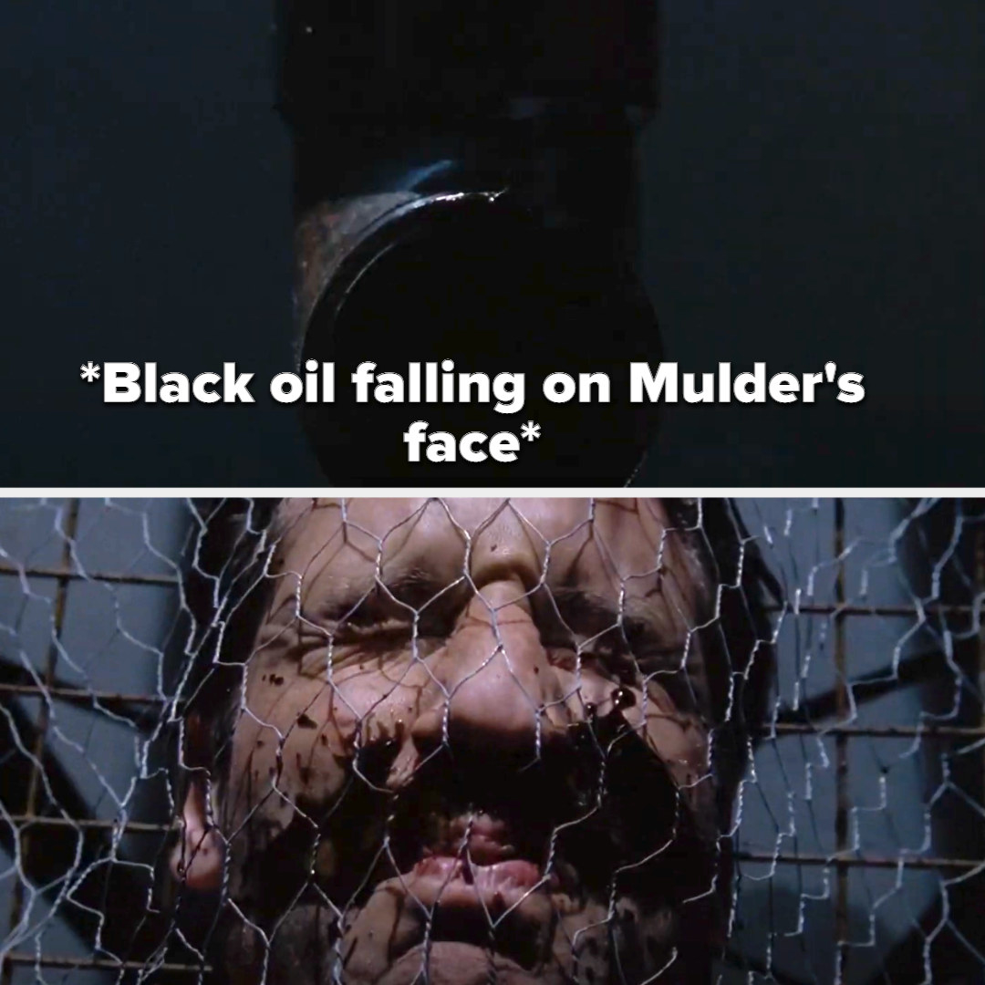 Black oil falling on Mulder's face that has wired net over it