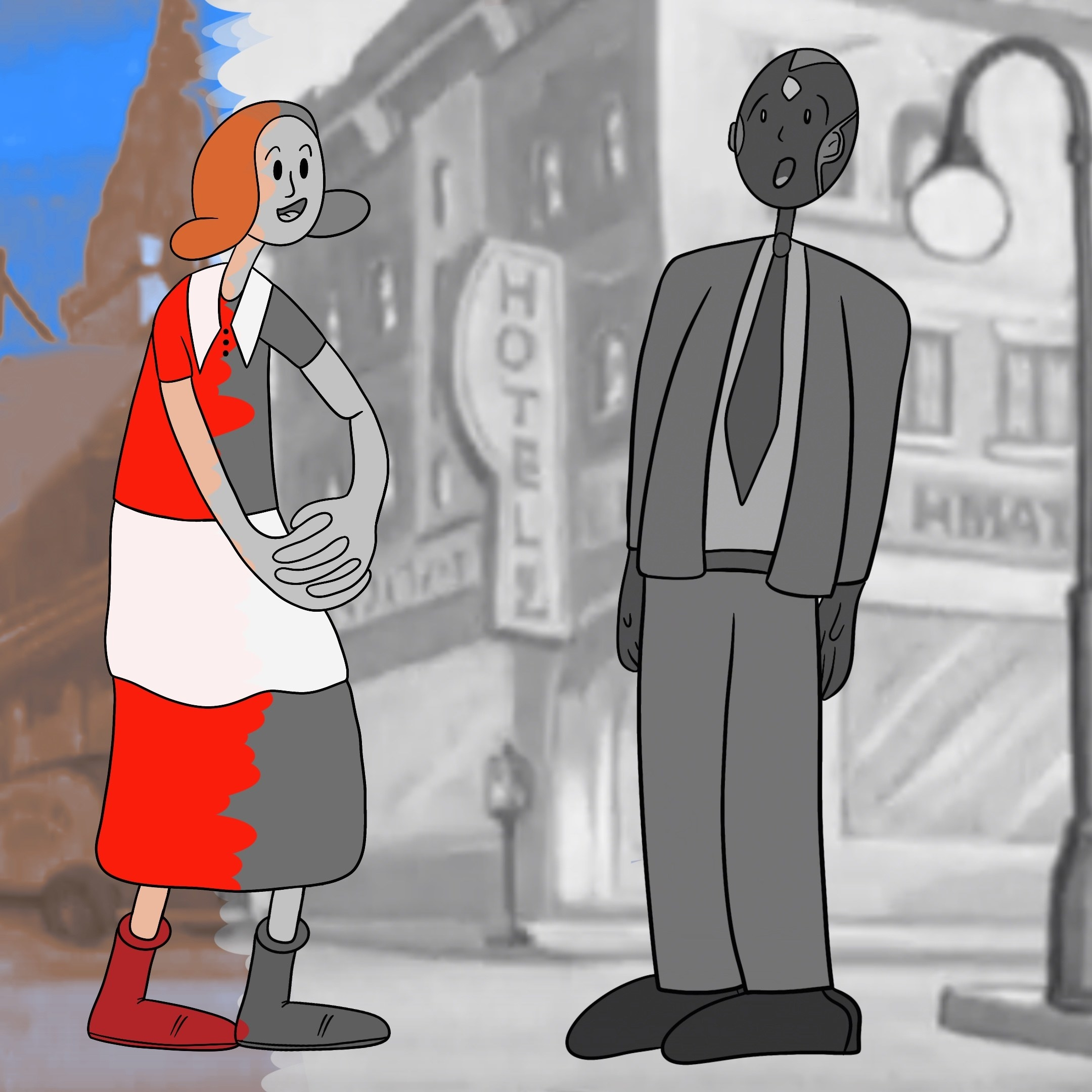 Wanda and Vision stand in a partially black and white, partially colored town