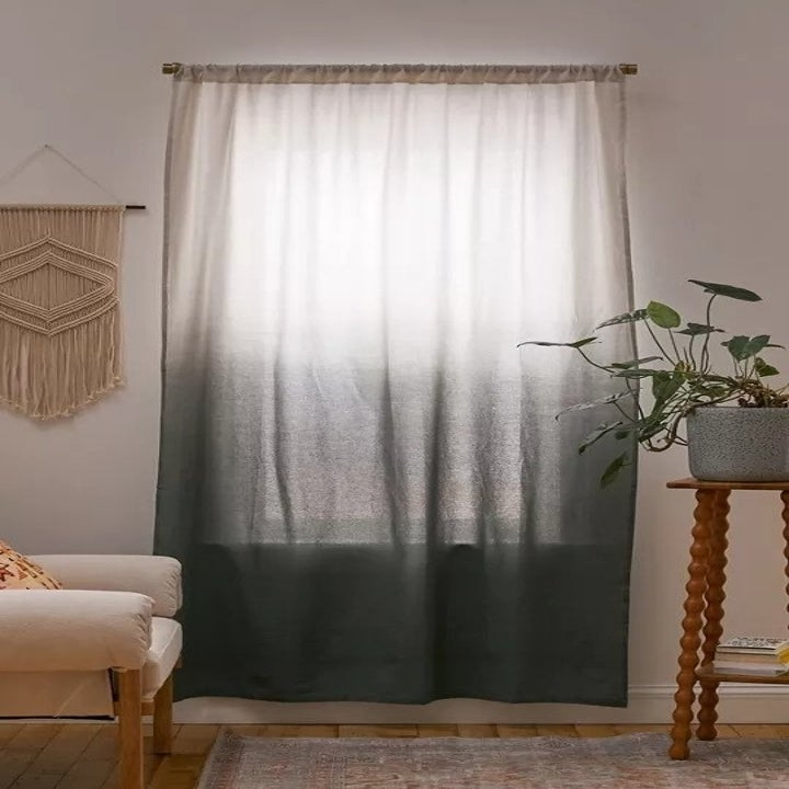 The same curtain in gray blue and cream