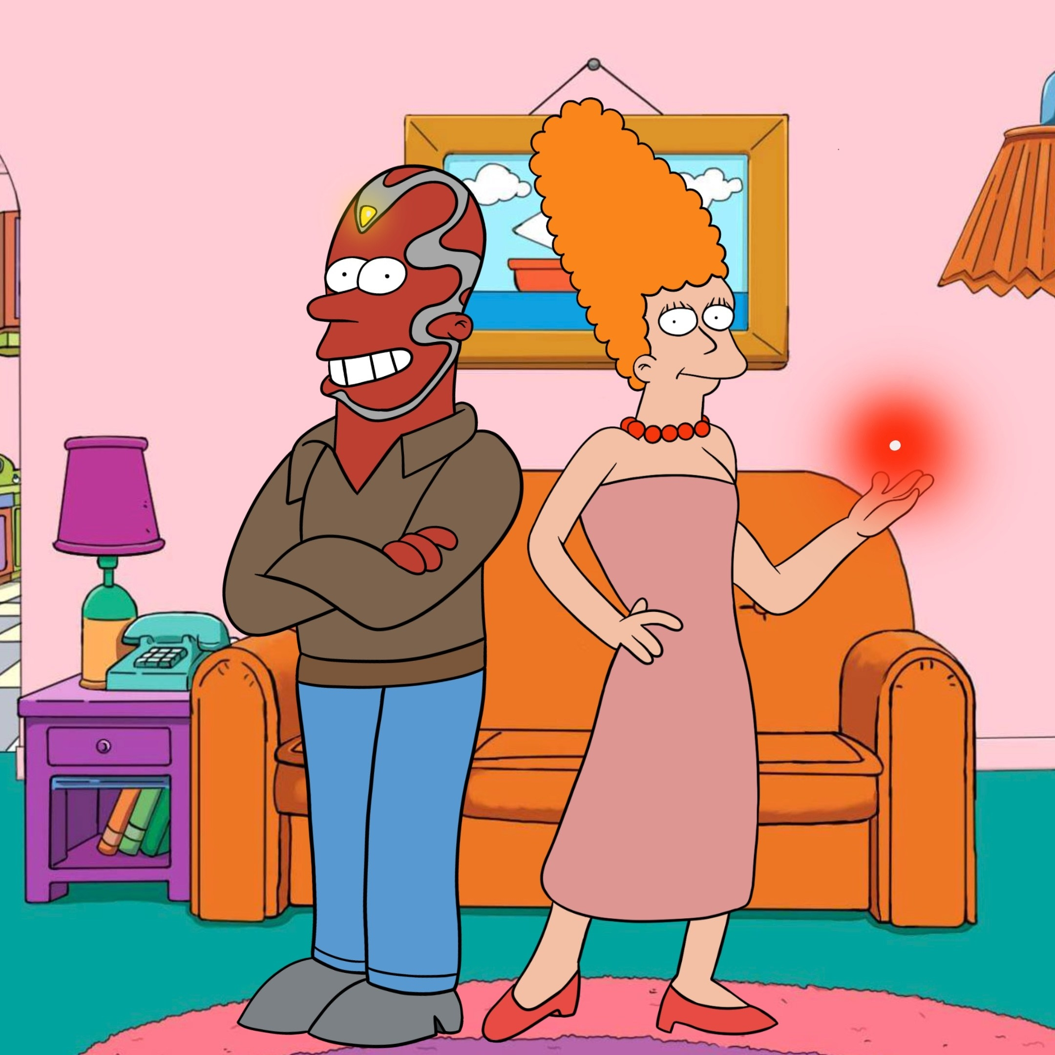 Wanda and Vision drawn as The Simpsons-style characters