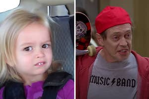 "Side-by-side image of Side-Eye Chloe and Steve Buscemi in the ""how do you do fellow kids"" meme"
