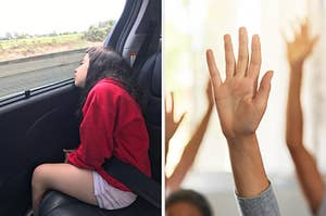 On the left, a child staring out of a car window, and on the right, someone raising their hand