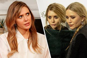Elizabeth Olsen staring at her twin siblings Mary-Kate and Ashley in confusion