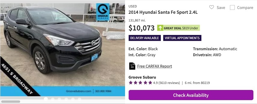 A used car for sale for $10,073