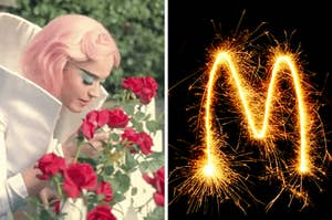 """Katy Perry sniffing roses in the """"Chained to the Rhythm"""" music video, and on the right, the letter M written with a sparkler"""