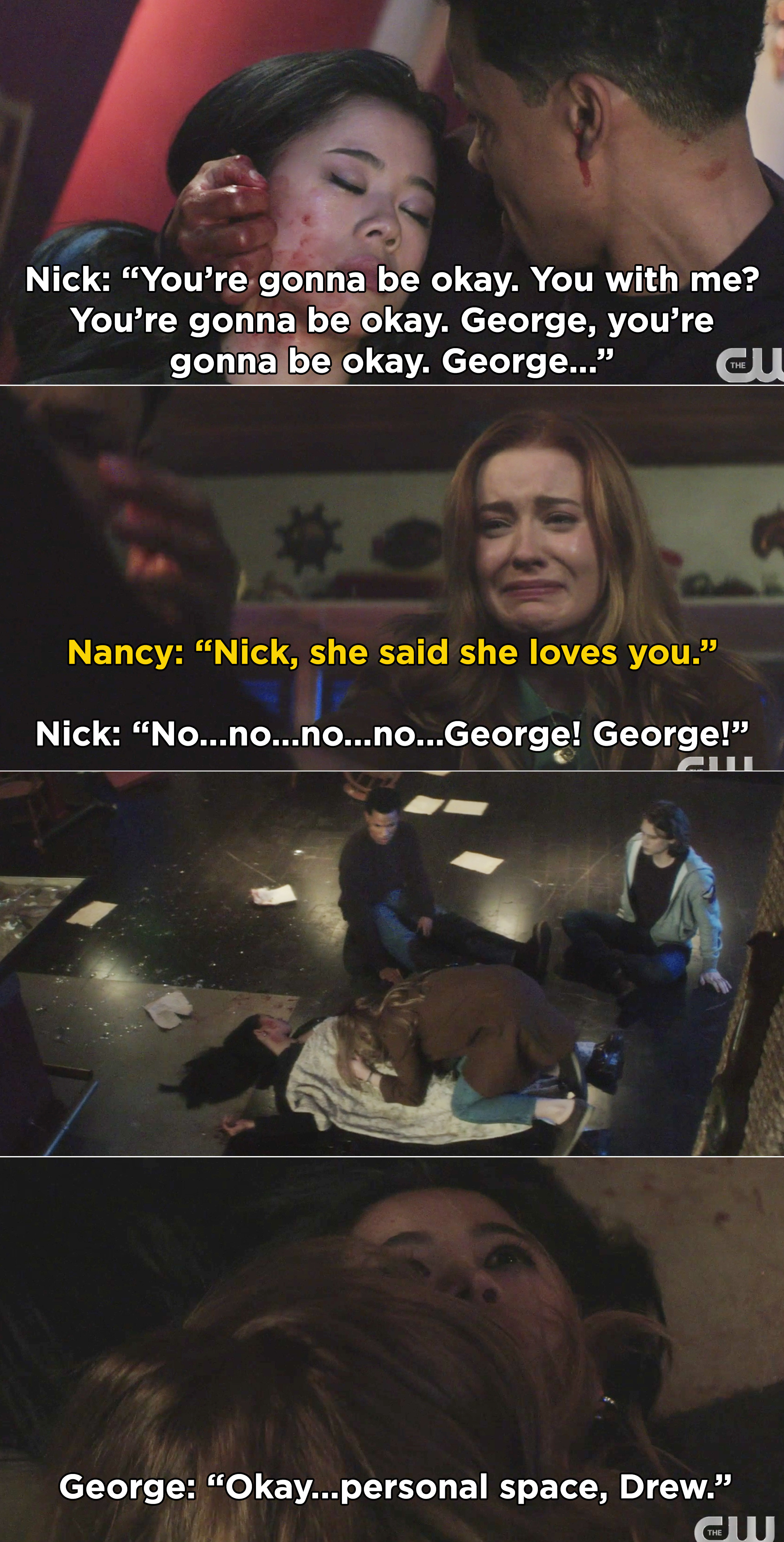 Nick pleading with George to wake up and Nancy weeping over George's body before she wakes up