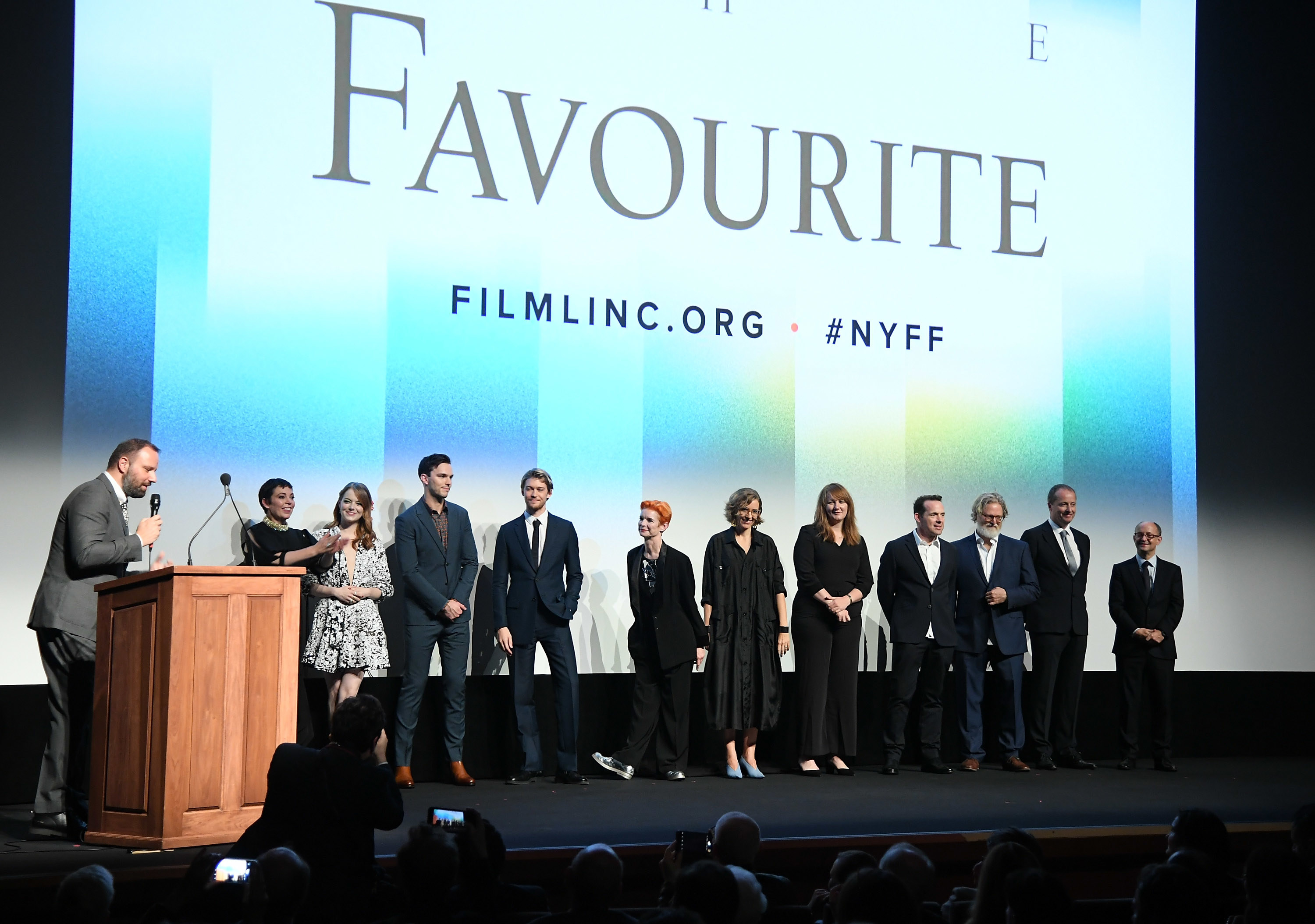 The cast of The Favourite standing on stage