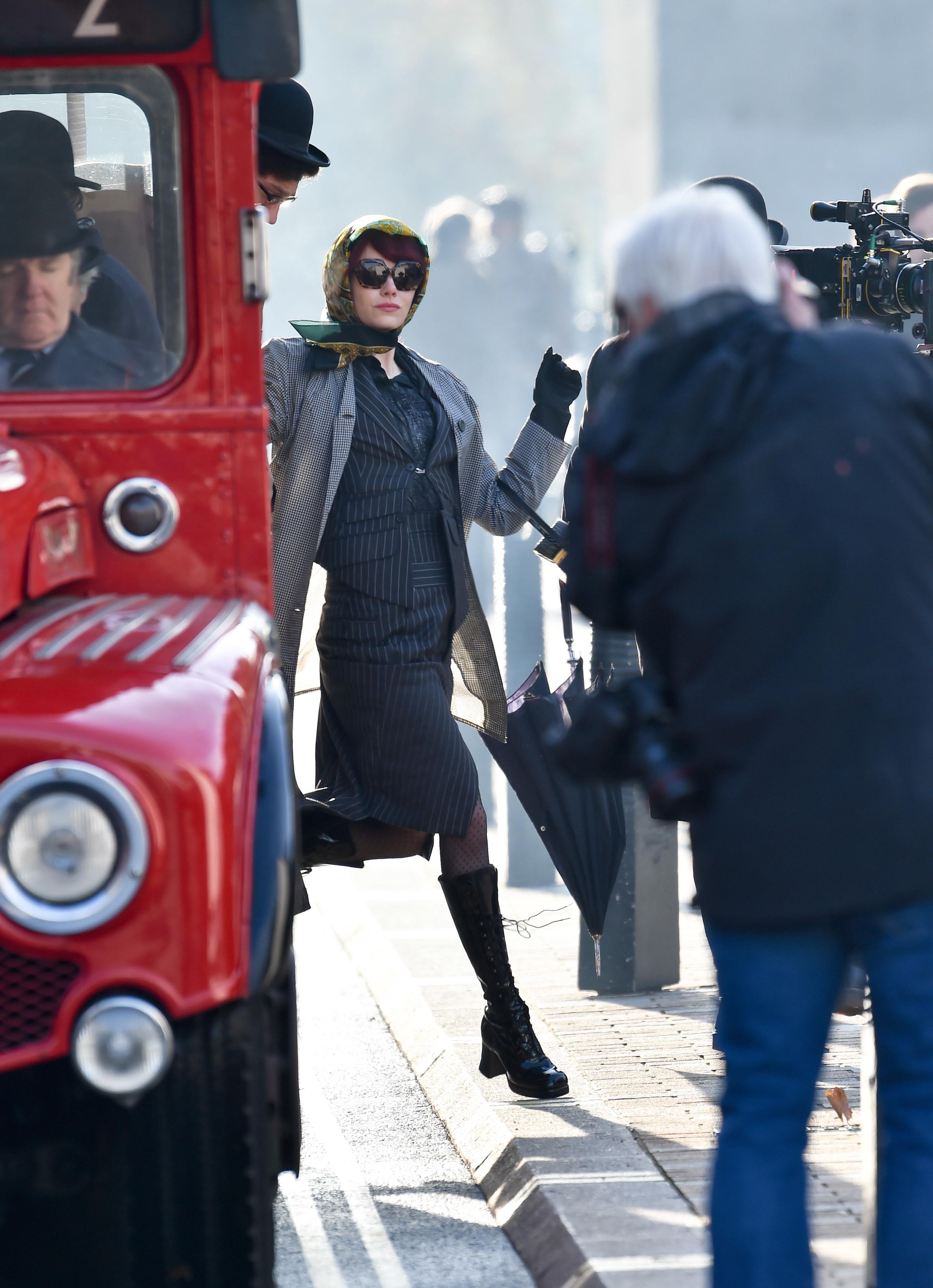 Emma Stone filming Cruella in London