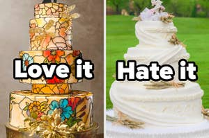 A stained glass-designed wedding cake with