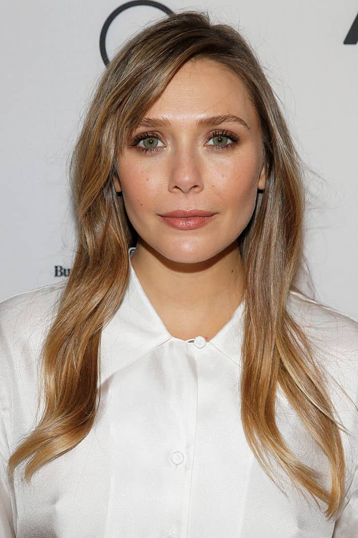 Elizabeth Olsen poses while visiting BuzzFeed's AM to DM