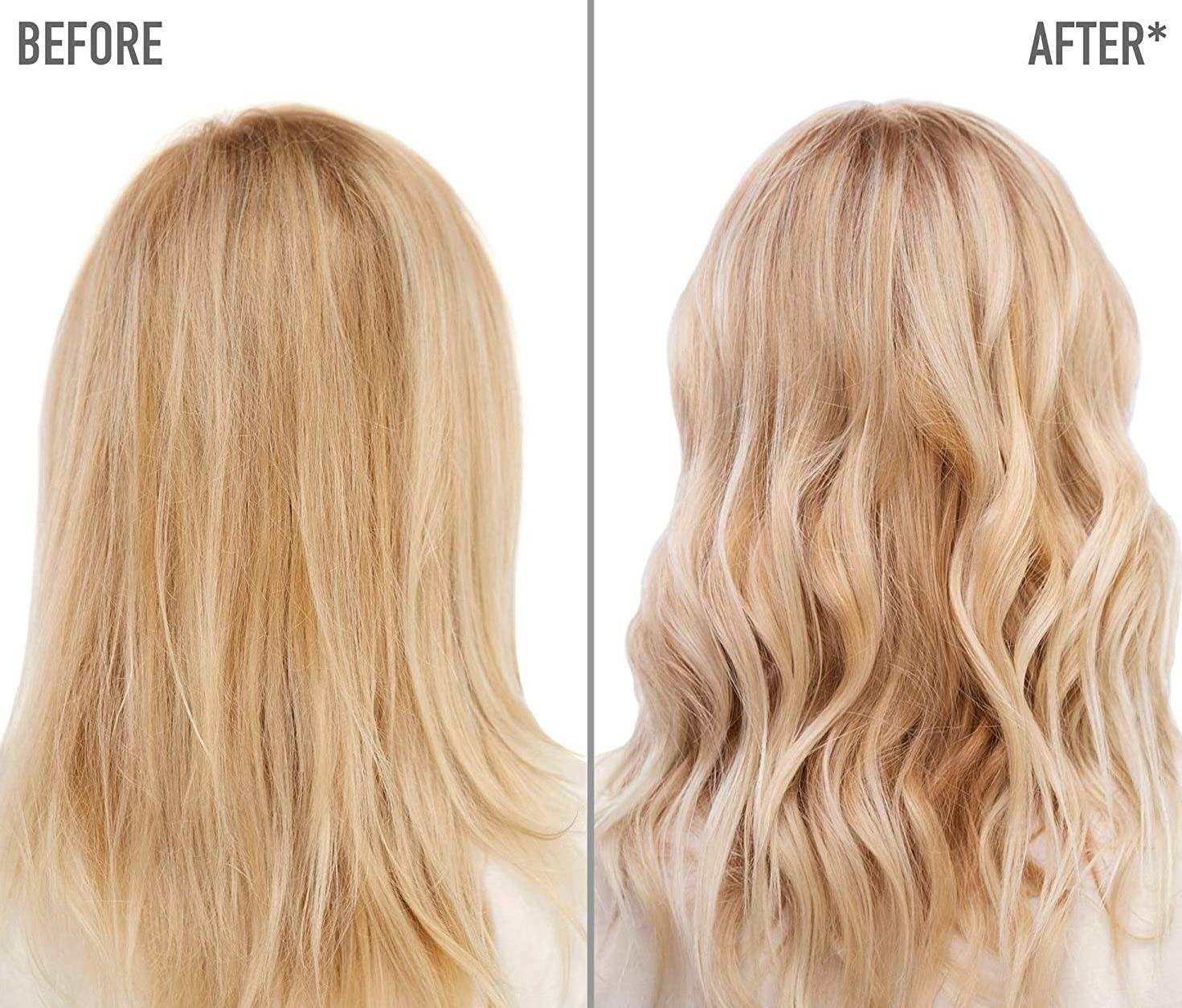 Model showing before-and-after results of using MATRIX Total Results So Silver Color Depositing Purple Shampoo