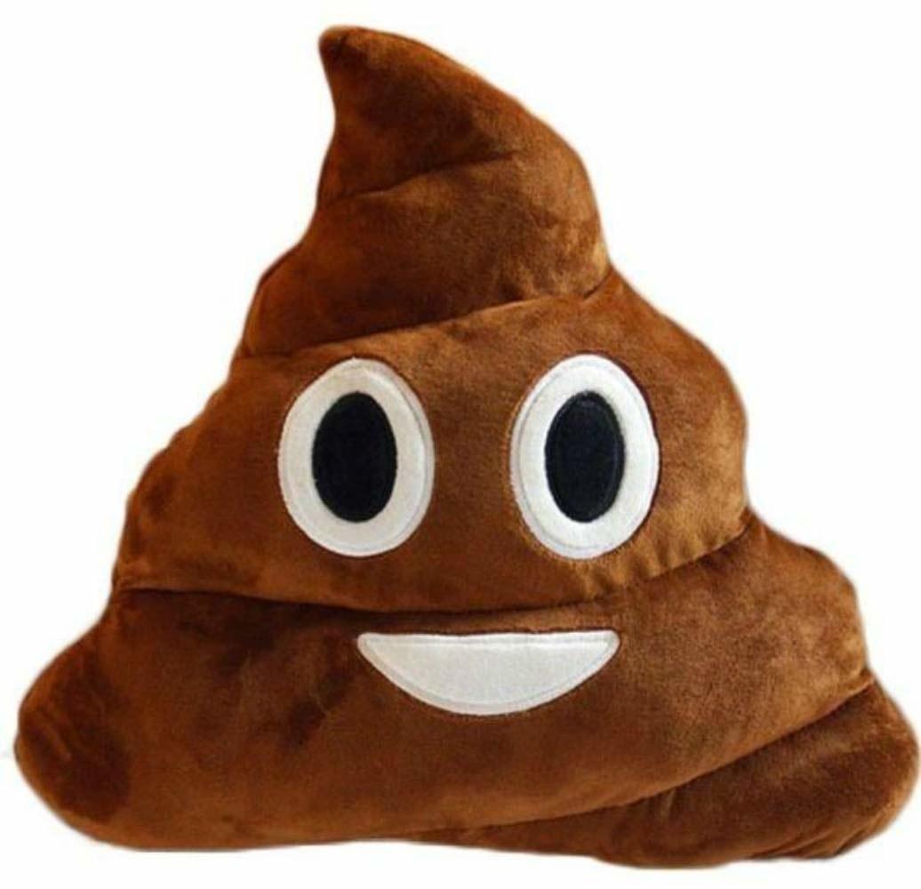 A poop emoji pillow