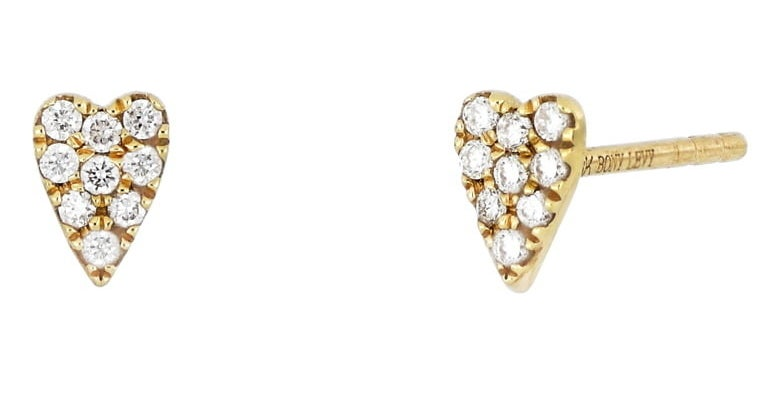 The diamond heart stud earrings
