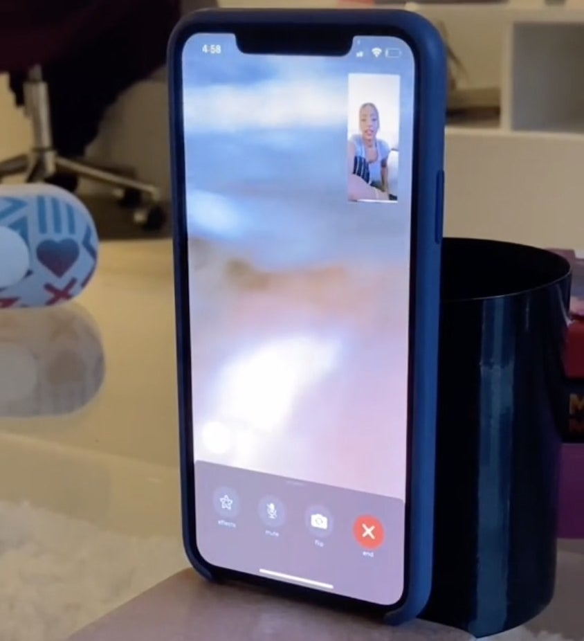 Joan's phone is just a blurry screen