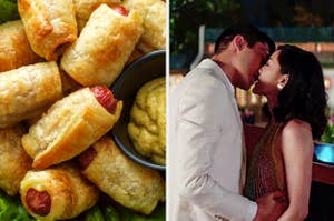 """pigs in a blanket alongside wedding from """"Crazy Rich Asians"""""""