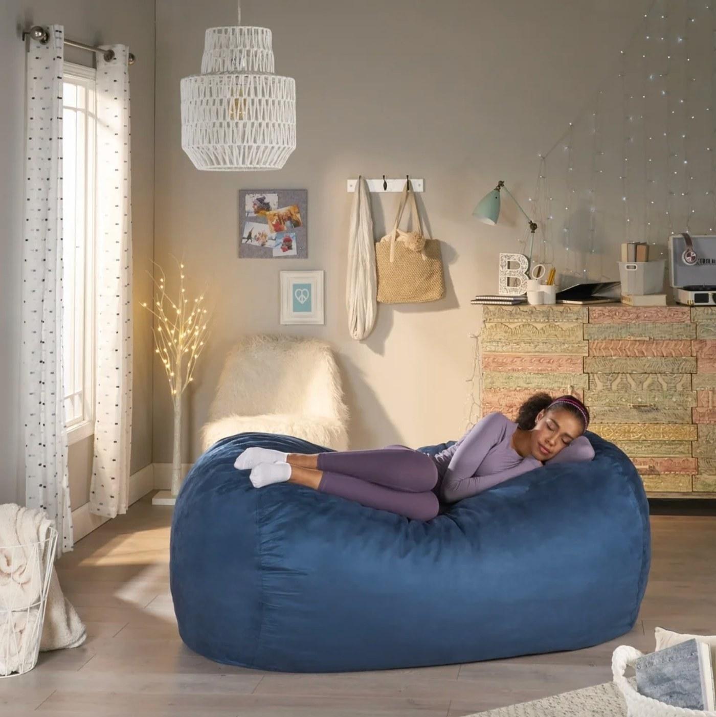 The long bean bag chair in blue