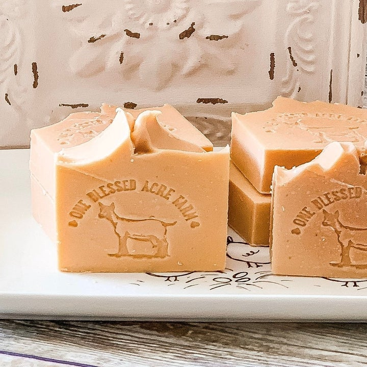 slices of soap with goat logo on the front