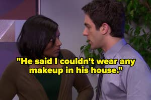 """""""He said I couldn't wear any makeup in his house"""" over Kelly and Ryan from The Office"""