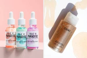 to the left: three bottles of tanning oil, to the right: ouai detox shampoo