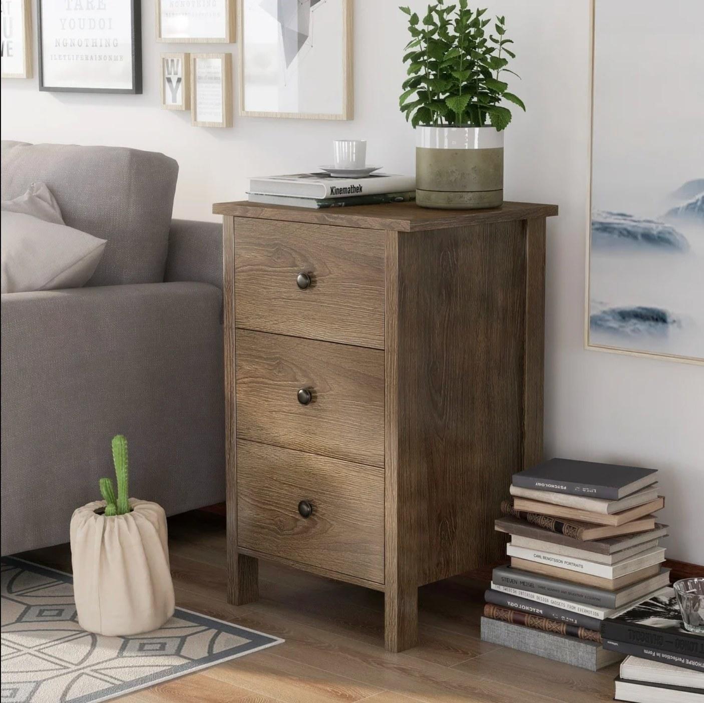 The distressed walnut nightstand