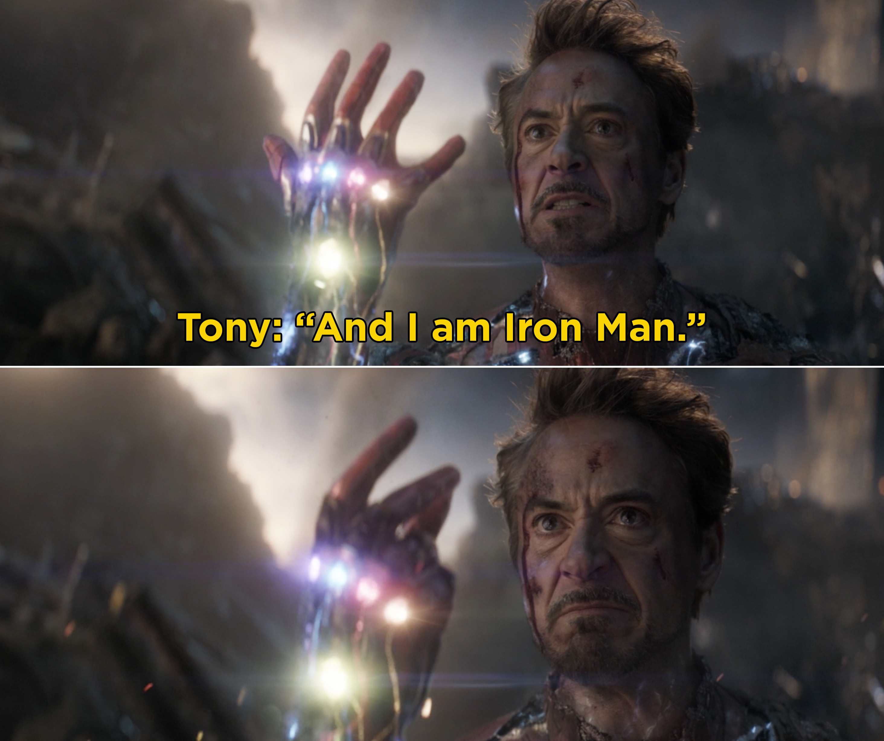 """Tony saying, """"And I am Iron Man"""" and snapping his fingers while wielding the Infinity Stones"""