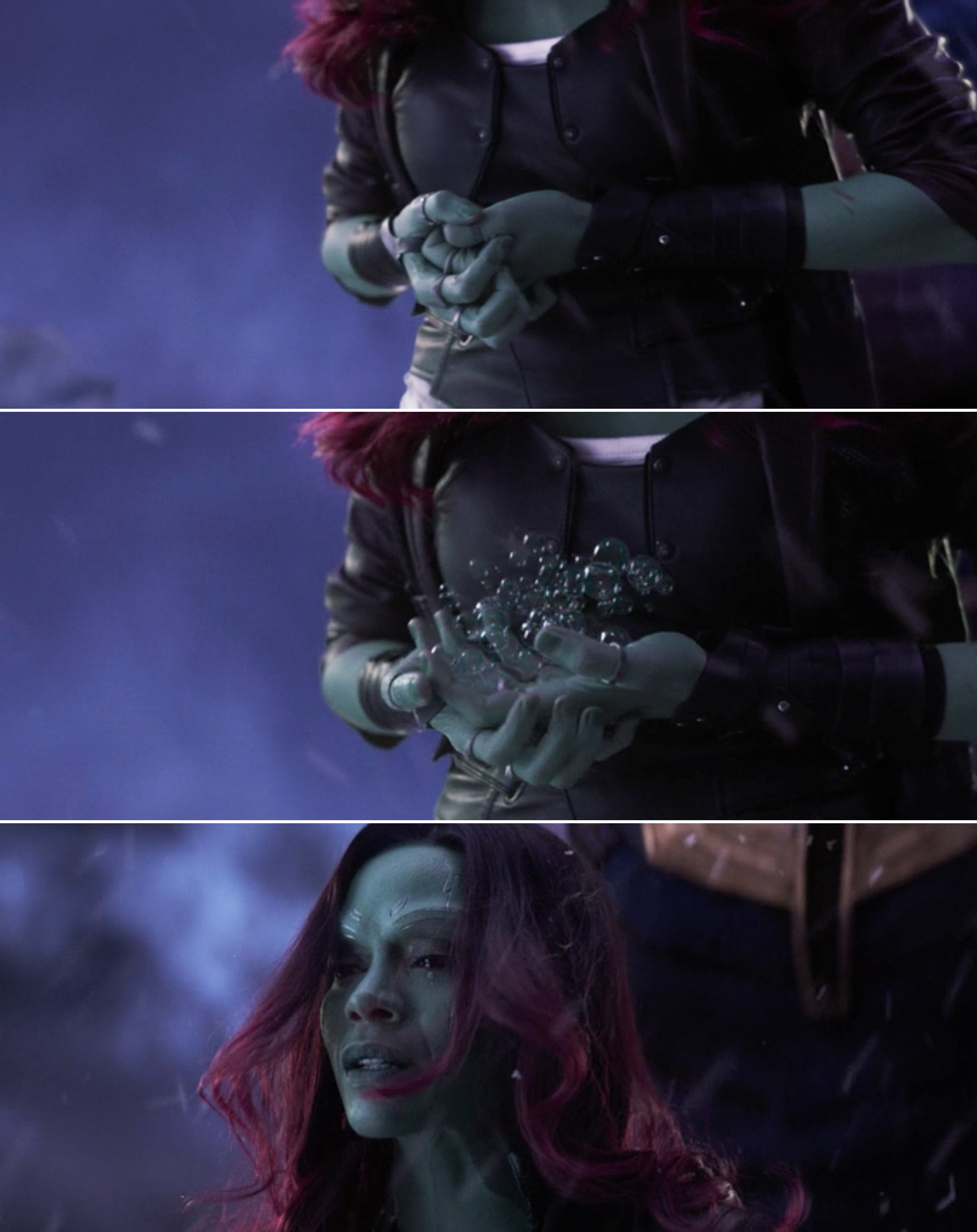 The knife Gamora is holding turning to bubbles and Gamora looking up and crying