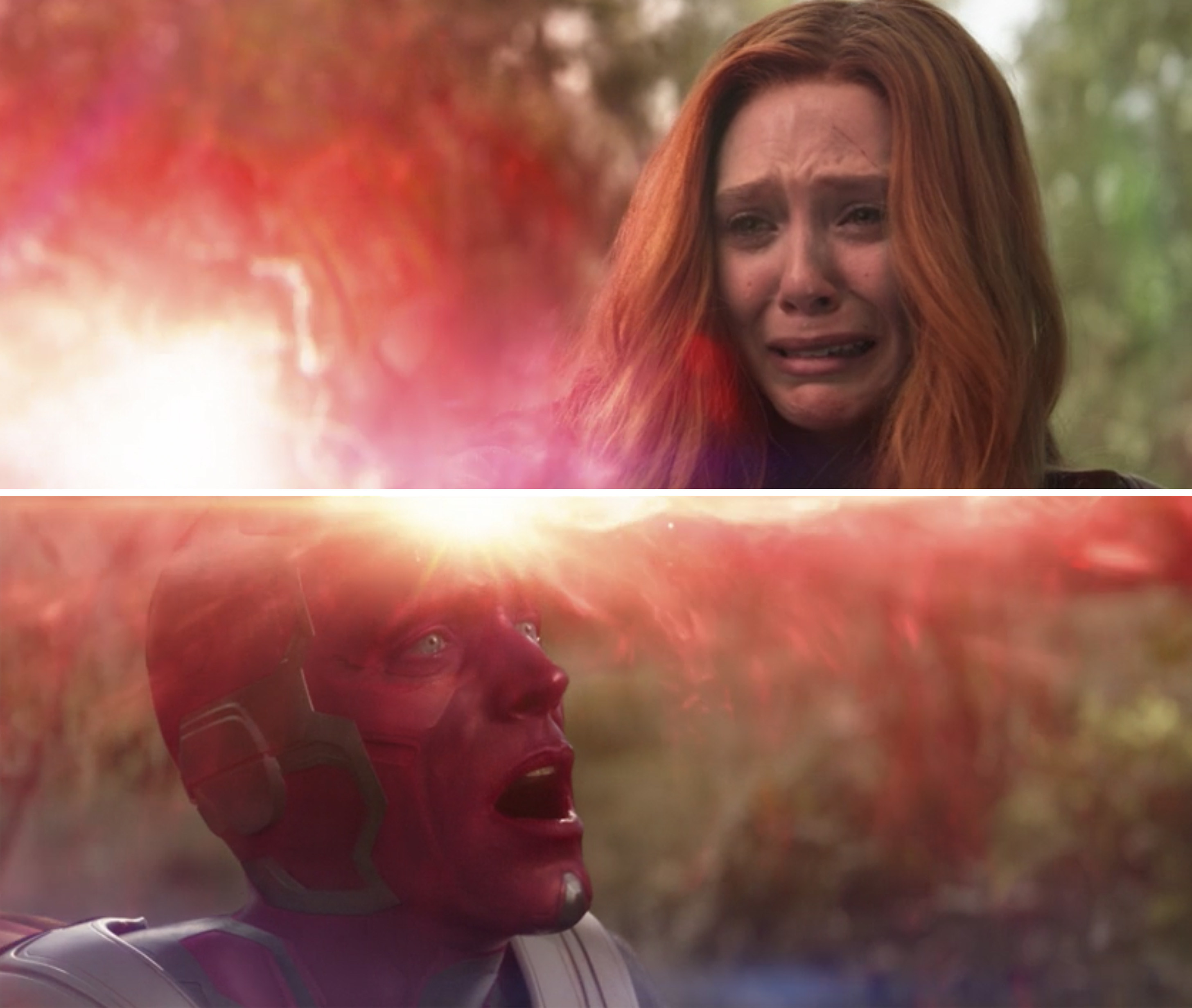 Wanda weeping while destroying the Mind Stone in Vision's head