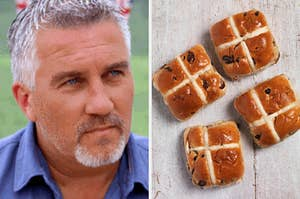 """On the left, Paul Hollywood staring on """"The Great British Baking Show,"""" and on the right, some hot cross buns"""