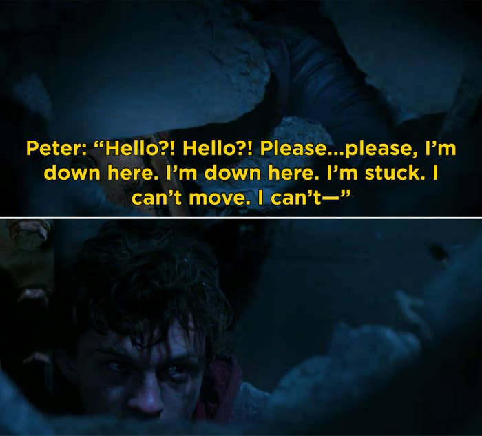 """Peter screaming, """"Hello?! Hello?! Please...please, I'm down here. I'm down here. I'm stuck. I can't movie. I can't—"""""""